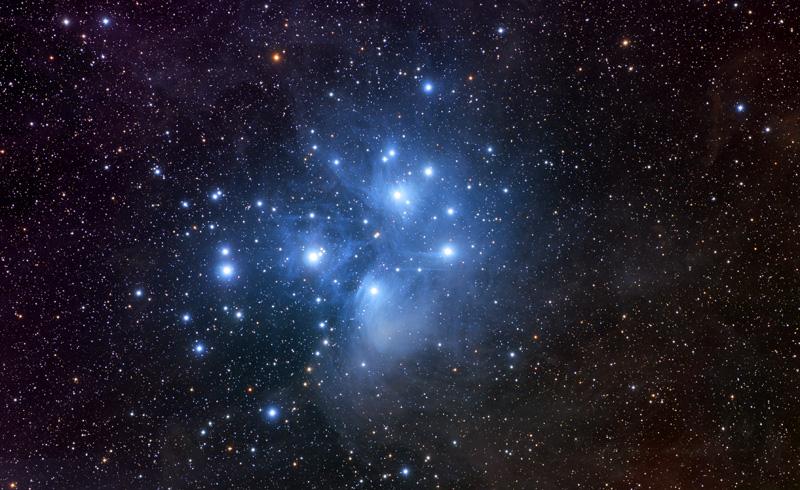 M45, The Pleiades. Takahashi FSQ, SBIG STL-11000XM with AstroDon RGB ...